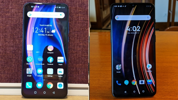 Honor View 20 (left) up against the OnePlus 6T (right).