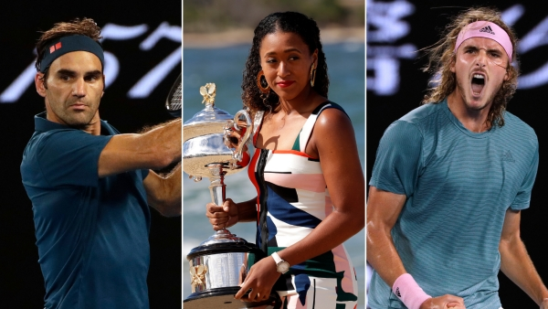 Roger Federer, Naomi Osaka and Stefanos Tsitstipas during and after the Australian Open.
