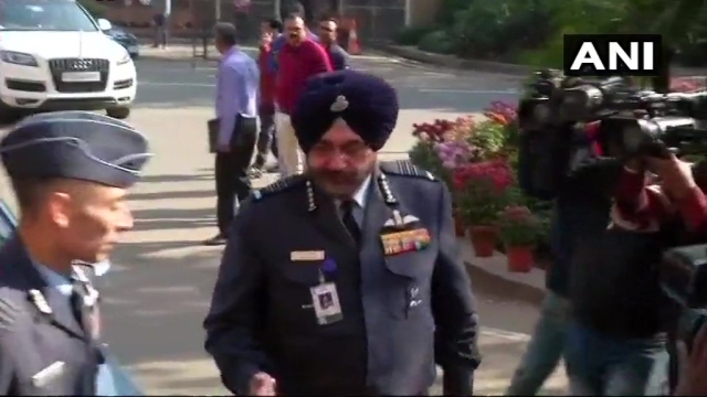 Air Chief Marshal Birender Singh Dhanoa at Parliament in New Delhi.