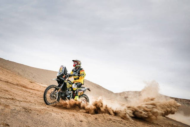 A bike racer takes on the dunes in Peru during the initial stages of the Dakar rally.