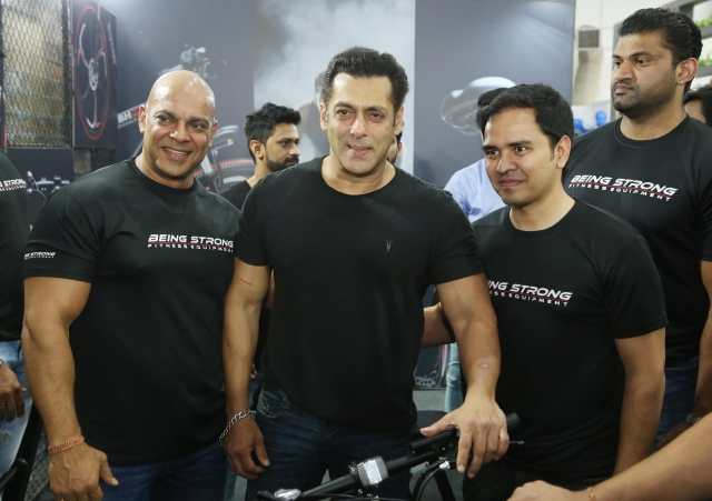 Salman Khan seen here with the team at the gym.