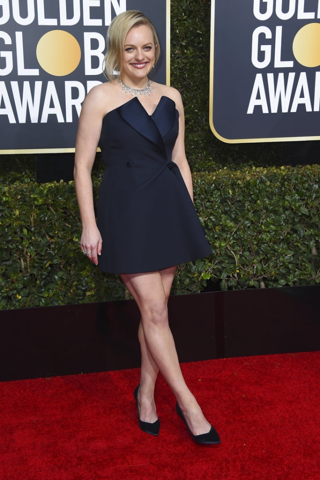 Elisabeth Moss arrives at the 76th annual Golden Globe Awards at the Beverly Hilton Hotel.