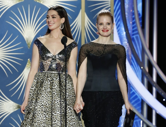 Anne Hathaway (left) and Jessica Chastain during the 76th Annual Golden Globe Awards.