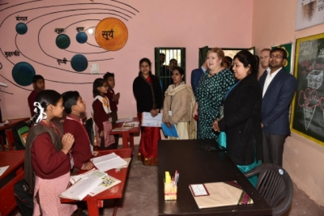 Ghaziabad: Norwegian Prime Minister Erna Solberg during her visit to a primary school in Nithora, Ghaziabad on Jan 7, 2019. (Photo: IANS/MEA)