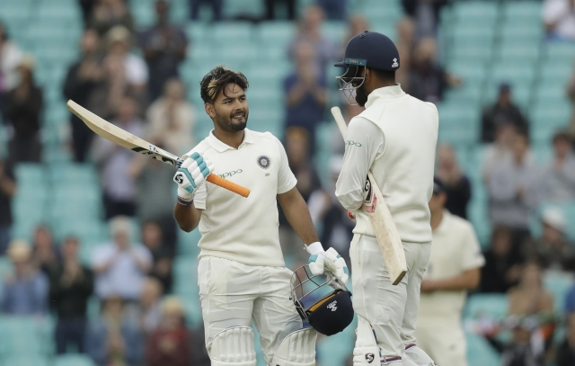 Rishabh Pant celebrates his maiden Test century, scored against England, at The Oval in September 2018.