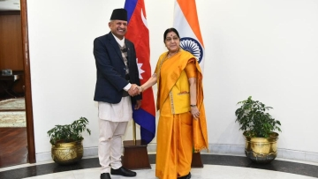 A file photo of Sushma Swaraj with  Foreign Affairs Minister of Nepal Pradeep Kumar Gyawali on sidelines of the Raisina Dialogue.
