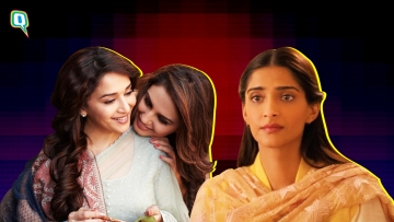 Madhuri Dixit and Huma Qureshi in Dedh Ishqiya (left) and Sonam Kapoor in Ek Ladki Ko Dekha Toh Aisa Laga (right) .