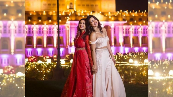 Priyanka and Parineeti Chopra during the former's wedding.