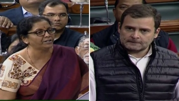 Defence Minister Nirmala Sitharaman and Congress President Rahul Gandhi in Lok Sabha during Winter Session.
