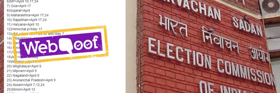 Lok Sabha Election 2019 Dates Fake List: That Viral List of
