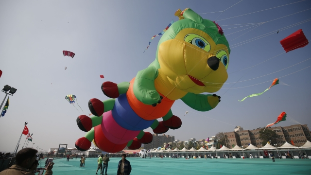 Kites like the 'Caterpillar' were a favourite among children.