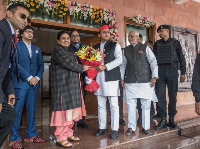 Akash Anand seen with Mayawati and Akhilesh Yadav on the BSP chief's birthday.