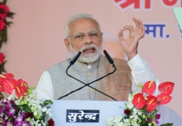Agra: Prime Minister Narendra Modi addresses a public rally in Agra on Jan 9, 2019. (Photo: IANS)