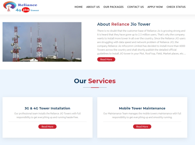 "A screenshot of a hoax Jio tower <a href=""http://jiotowerindia.in/"">website</a>."