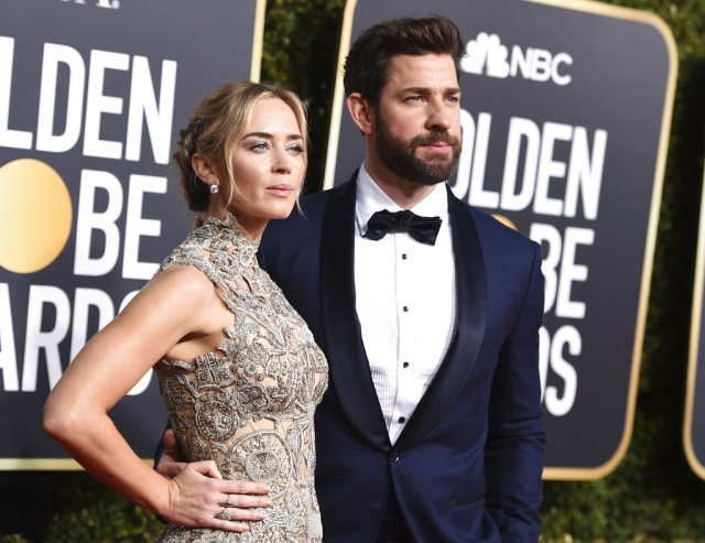 Emily Blunt (left) and John Krasinski turn heads in style.