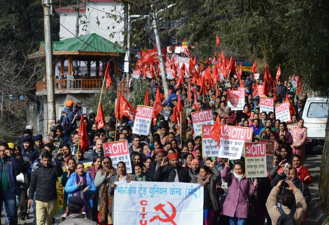 "Activists under the banner of Centre of Indian Trade Unions (CITU) raise slogans during the 48-hour long nationwide general strike called by Central trade unions protesting against the ""anti-people"" policies of the Centre in Shimla."