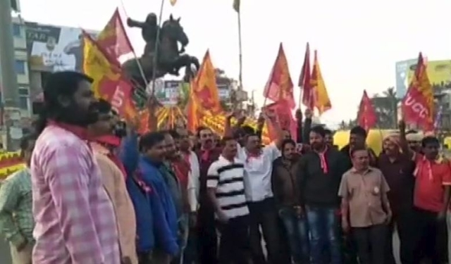 Trade union workers protest in Hubli, Karnataka