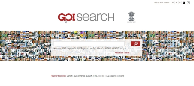 The GOI Search website caters to searches related to government websites.