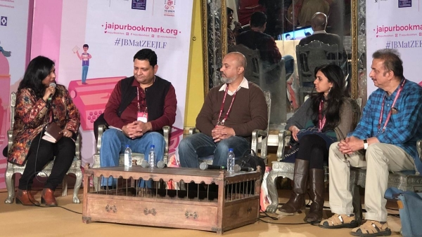 Aditi Maheswari, award-winning author Jayant Kaikini Manasi, and Ravi Singh talking about publishing translations at Jaipur Book Mark.
