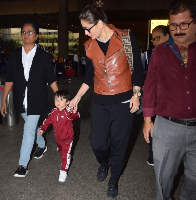Kareena and Taimur at the Mumbai airport.