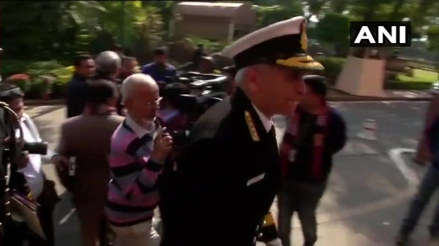 Naval Chief Sunil Lanba arrives before the meeting with Defence Minister Nirmala Sitharaman.
