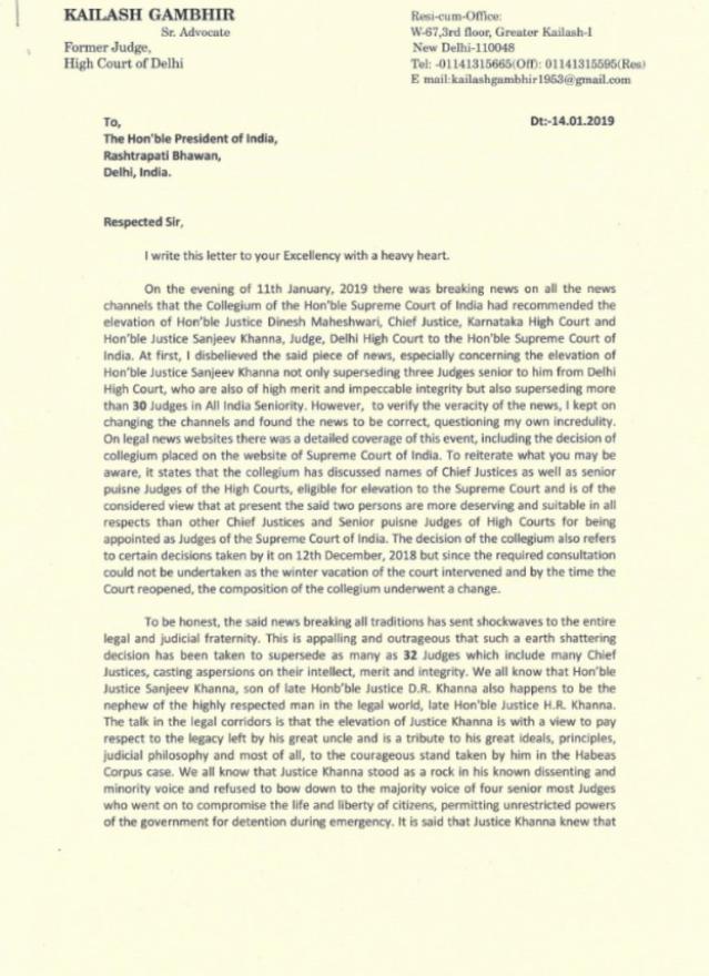 retd hc judge writes to president