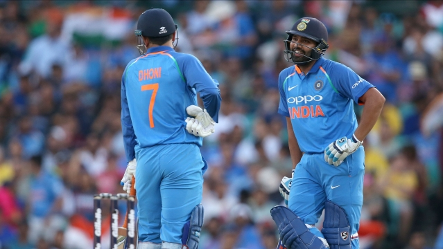 India's Rohit Sharma (right) and M S Dhoni  during the 1st ODI vs Australia in Sydney, on Saturday, Jan 12, 2019.