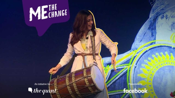 Taapsee Pannu playing dhol with India's only female dhol player.
