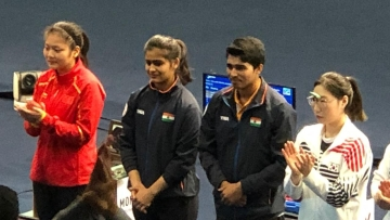 India's teenage pair of Manu Bhaker and Saurabh Chaudhary clinched a gold in the 10m Air Pistol Mixed Team event at the ISSF World Cup.