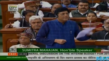 New Delhi: Union Finance Minister Piyush Goyal speaks in Lok Sabha, Parliament House in New Delhi on Feb 11, 2019. (Photo: IANS/LSTV)