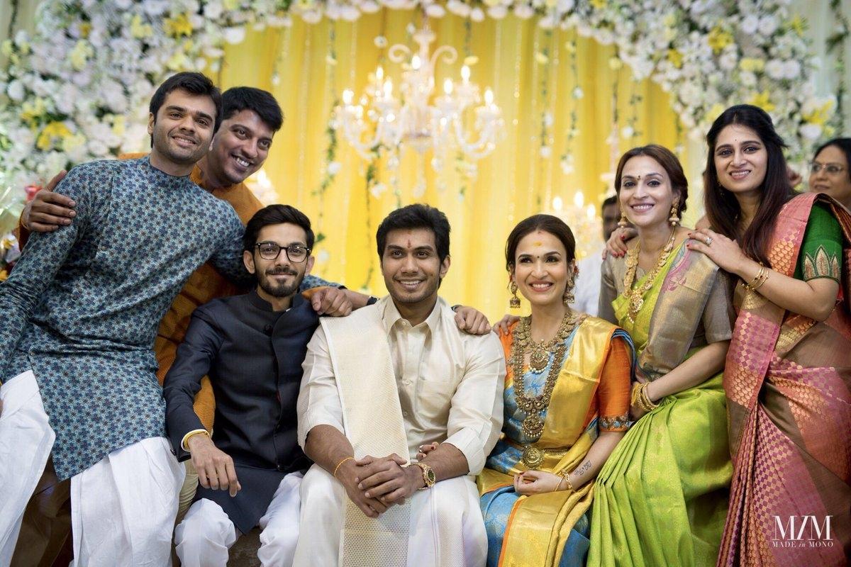 Music composer Anirudh Ravichander (in black) with the bride Soundarya, groom Vishagan, Aishwarya Dhanush (in green) and friends.