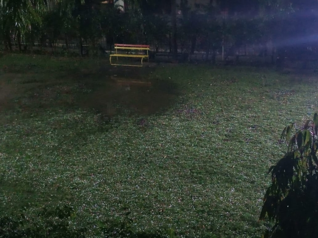 Hailstorm at Sector 33, Noida.