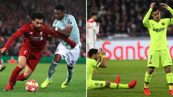 Liverpool and Bayern Munich (left) played out a 0-0 draw in their Champions League last-16 first leg, while Barcelona were held 0-0 at Lyon.