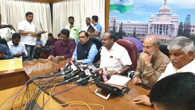 CM at an emergency press conference at his residence in Bengaluru.
