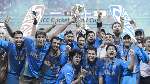 The Indian cricket team celebrate their victory in the 2011 ICC World Cup.