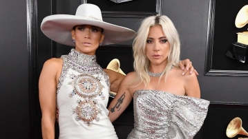 Jennifer Lopez and Lady Gaga at the 61st Grammy Awards.