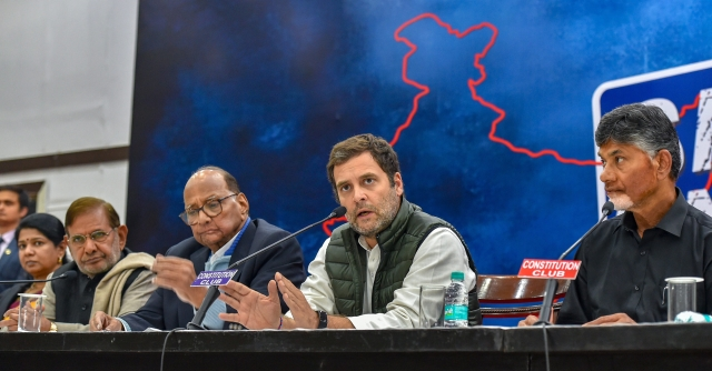Congress President Rahul Gandhi with TDP chief N Chandrababu Naidu, NCP President Sharad Pawar, CPIs D Raja, Sharad Yadav, SPs Ram Gopal Yadav and DMK leader Kanimozhi at a press conference after the opposition parties meeting over various political issues including the issue of EVMs, in New Delhi, Friday, 1 February 2019.