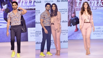 Shahid and Vaani Kapoor launched a label of workwear at an event in Mumbai.