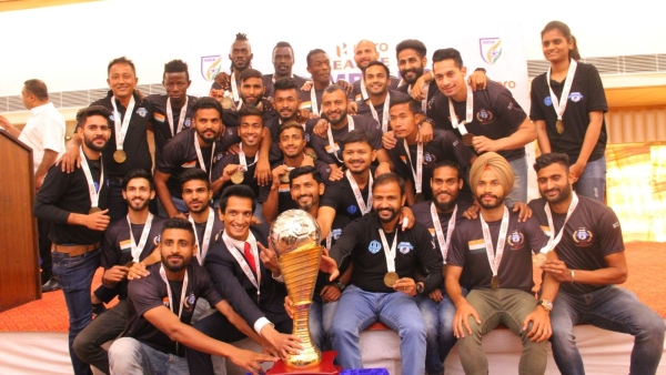 File photo of Minerva Punjab FC players with their I-League Trophy during a presentation ceremony in Chandigarh on 22 March 2018.