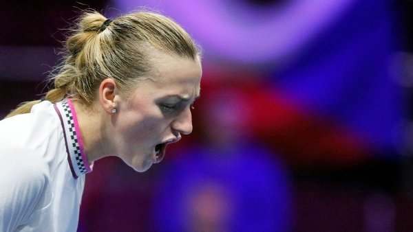 Petra Kvitova reacts during her surprise defeat in the St. Petersburg Open quarter-finals to Donna Vekic.