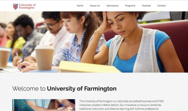 Here's what the University of Farmington's website looked like before the arrests were made.