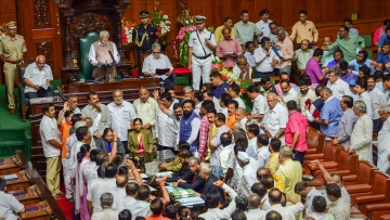 BJP MLAs stormed the well of the House during the first day of the Karnataka budget on Tuesday, 6 February.
