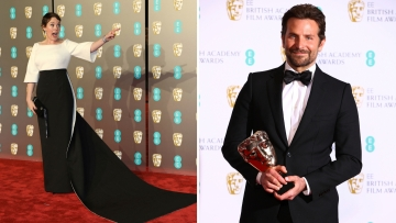 Olivia Colman and Bradley Cooper at the awards night.