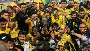 Pakistan's Peshawar Zalmi celebrate their victory in the Pakistan Sports League at Gaddafi stadium in Lahore, Pakistan, Sunday, March 5, 2017.