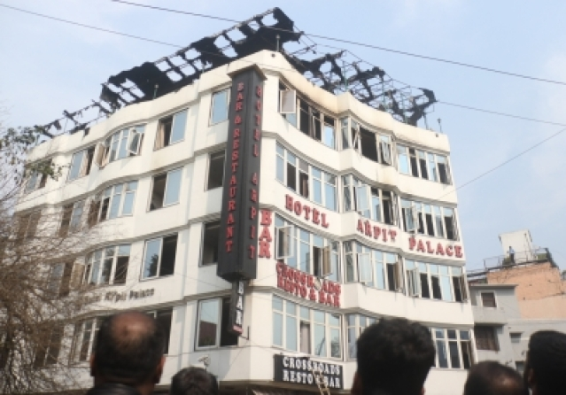 New Delhi: Hotel Arpit Palace in Karol Bagh where a major fire broke out killing seventeen people, including a child and injuring three others in New Delhi on Feb 12, 2019. (Photo: IANS)