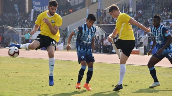 File photo of an I-League clash between Real Kashmir FC (in yellow) and Minerva Punjab FC.