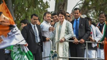 Congress President Rahul Gandhi and All India Congress Committee (AICC) General Secretary of Uttar Pradesh East, Priyanka Gandhi Vadra, during a roadshow, in Lucknow.