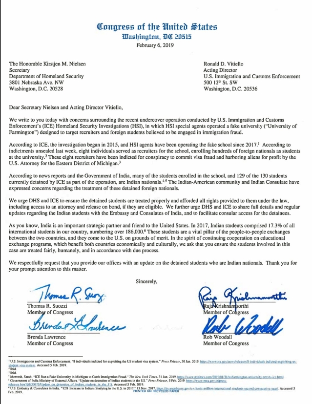 """We urge DHS and ICE to ensure the detained students are treated properly,"" members of US Congress write to the Department of Homeland Security."