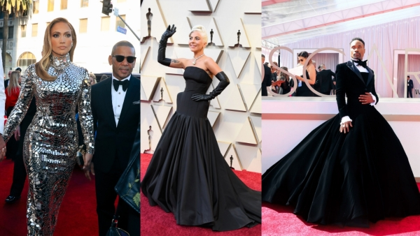 Jennifer Lopez, Lady Gaga and Billy Porter on the red carpet at the Academy Awards 2019.
