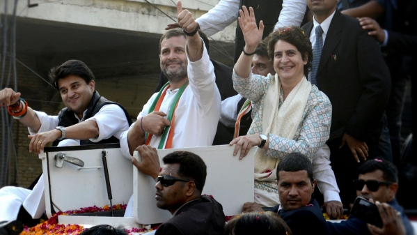 Rahul Gandhi, Priyanka Gandhi Vadra, and Jyotiraditya Scindia, wave at supporters during a rally in Lucknow on Monday, 11 February 2019.